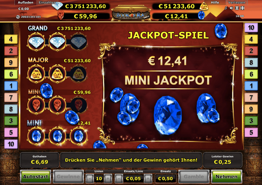 Mini Jackpot gewonnen bei Book of Ra Jackpot