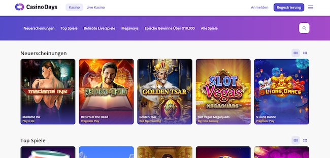 CasinoDays Webseite