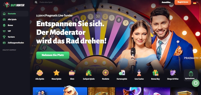 Slothunter Casino Webseite