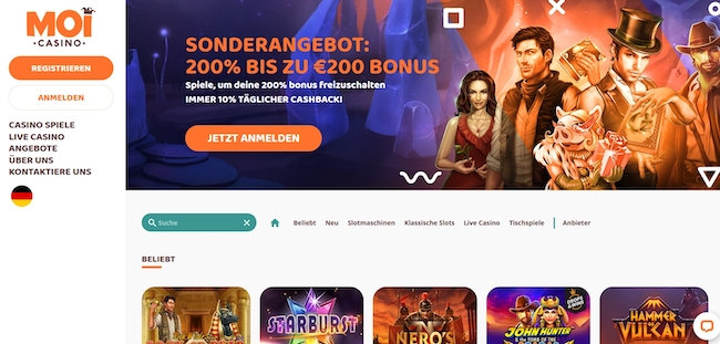 MoiCasino Webseite