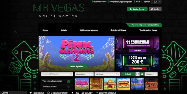 Mr Vegas Casino Webseite